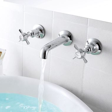 Butler & Rose Caledonia Pinch Wall Mounted 3 Hole Basin Mixer - Chrome