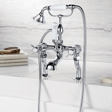 Butler & Rose Caledonia Pinch Deck Mounted Bath Mixer with Shower Handset