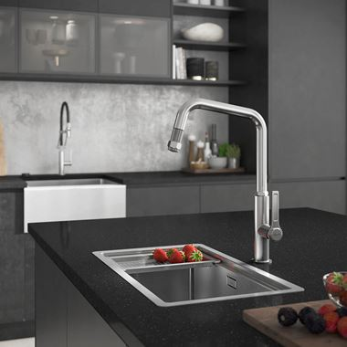 Abode Hex Industrial Single Lever Mono Pull Out Kitchen Mixer Tap - Brushed Nickel