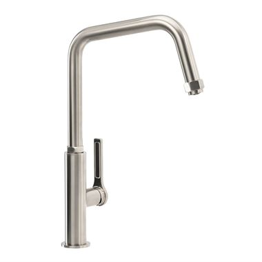 Abode Hex Industrial Single Lever Mono Kitchen Mixer Tap - Brushed Nickel