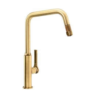 Abode Hex Industrial Single Lever Mono Pull Out Kitchen Mixer Tap - Antique Brass