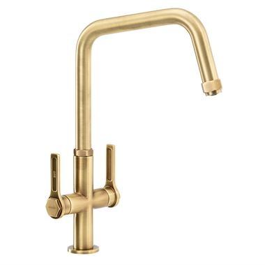 Abode Hex Industrial Twin Lever Mono Kitchen Mixer Tap - Antique Brass