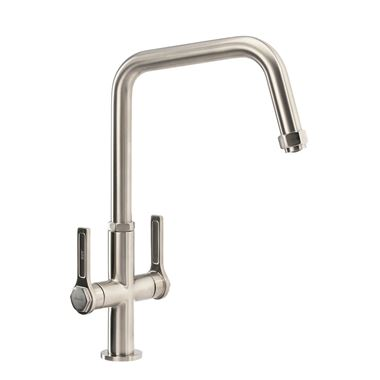 Abode Hex Industrial Twin Lever Mono Kitchen Mixer Tap - Brushed Nickel