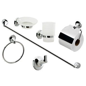 Modern 6 Piece Chrome Bathroom Accessory Pack