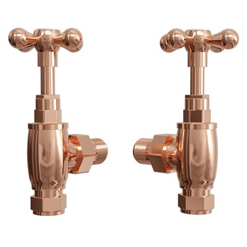 Butler & Rose Cross Head Radiator Valves & 180mm Tube - Pair - Rose Gold