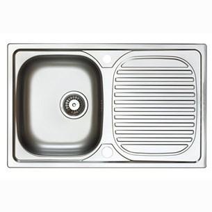 Astracast Aegean Compact Single Bowl Polished Stainless Steel Sink with Reversible Drainer - 800 x 500mm