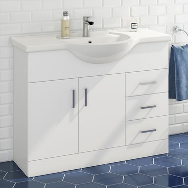 Alpine 1050mm White Gloss Floor Standing Vanity Unit & Basin