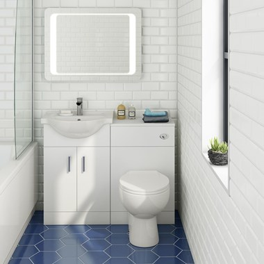 Alpine 1050mm White Gloss Furniture Suite with Back to Wall Toilet & Concealed Cistern
