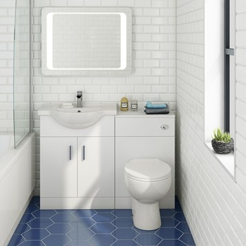 Alpine 1150mm White Gloss Furniture Suite with Back to Wall Toilet & Concealed Cistern