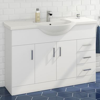 Alpine 1200mm White Gloss Floor Standing Vanity Unit & Basin