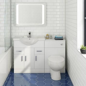 Alpine 1250mm White Gloss Furniture Suite with Back to Wall Toilet & Concealed Cistern