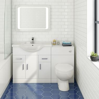 Alpine 1350mm White Gloss Furniture Suite with Back to Wall Toilet & Concealed Cistern