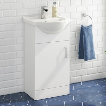 Alpine 450mm White Gloss Floor Standing Vanity Unit & Basin