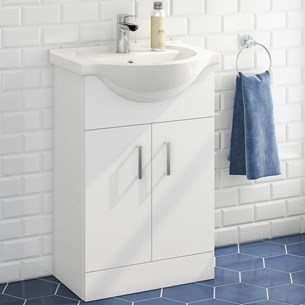 Alpine 550mm White Gloss Floor Standing Vanity Unit & Basin