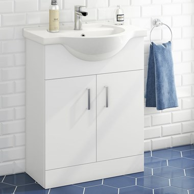 Alpine 650mm White Gloss Floor Standing Vanity Unit & Basin