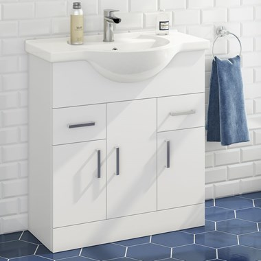 Alpine 750mm White Gloss Floor Standing Vanity Unit & Basin