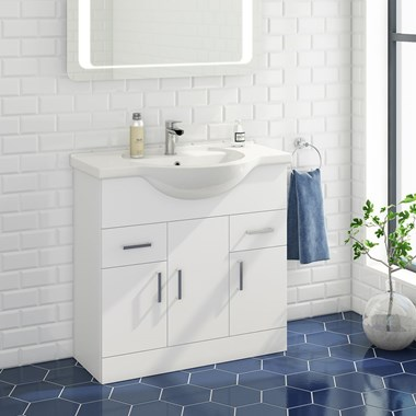 Alpine 850mm White Gloss Floor Standing Vanity Unit & Basin