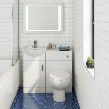 Alpine 950mm White Gloss Furniture Suite with Back to Wall Toilet & Concealed Cistern
