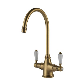 Clearwater Alrisha Traditional Twin Lever Mono Kitchen Mixer - Brushed Bronze
