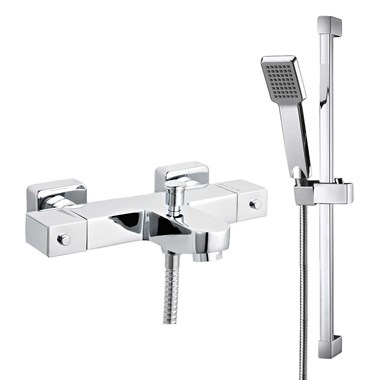 Altis Square Wall Mounted Thermostatic Bath Shower Mixer & Slide Rail Kit