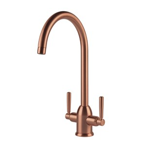 Clearwater Alzira Twin Lever Mono Kitchen Mixer - Brushed Copper