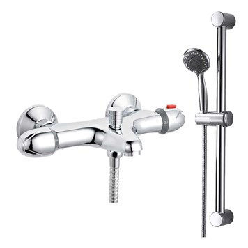 Amity Wall Mounted Thermostatic Bath Shower Mixer & Slide Rail Kit