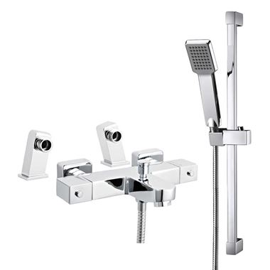 Amoy Square Deck Mounted Thermostatic Bath Shower Mixer & Slide Rail Kit