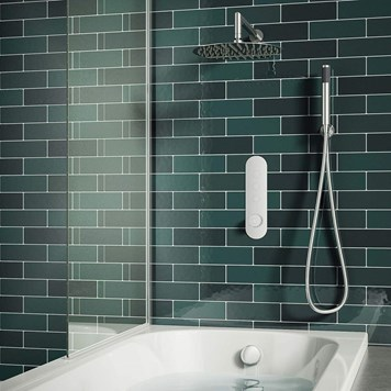 Andros Concealed Thermostatic Push Button Shower Valve, Fixed Shower Head, Handset & Overflow Bath Filler