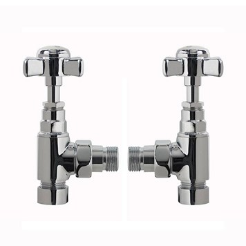 Angled Traditional Radiator Valves Chrome