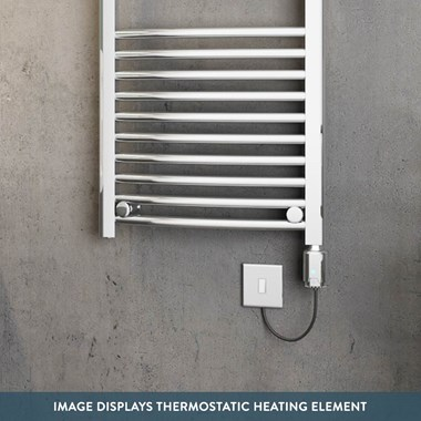 Brenton Apollo Electric Curved Heated Towel Rail - 800 x 500mm - Thermostatic Element