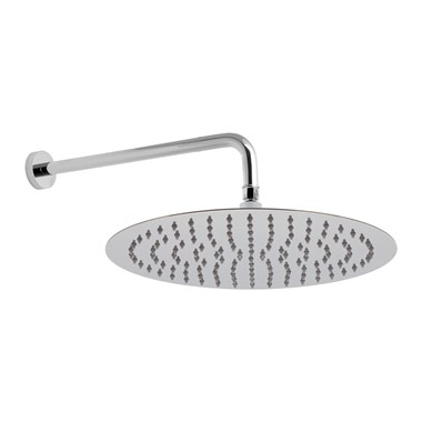 "Vado Aquablade Slim Line Easy Clean Round Shower Head with Shower Arm 300mm (12"")"