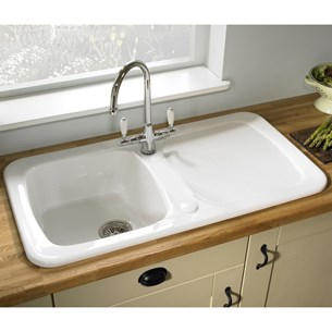 Astracast Aquitaine Ceramic 1 Bowl Sink With Chrome Waste & Overflow - White
