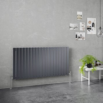 Brenton Flat Single Panel Horizontal Radiator - 635mm x 1200mm - Anthracite