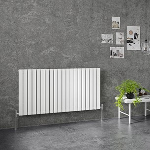 Brenton Flat Single Panel Horizontal Radiator - 635mm x 1200mm - White