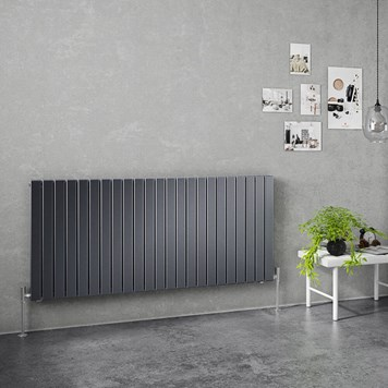Brenton Flat Double Panel Horizontal Radiator - 635mm x 1380mm - Anthracite