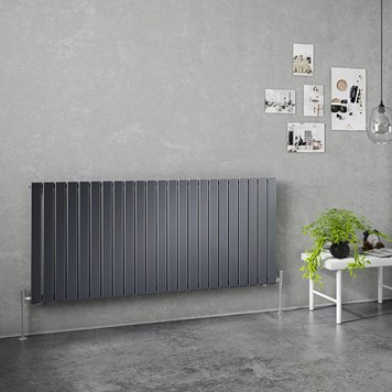 Brenton Flat Single Panel Horizontal Radiator - 635mm x 1380mm - Anthracite