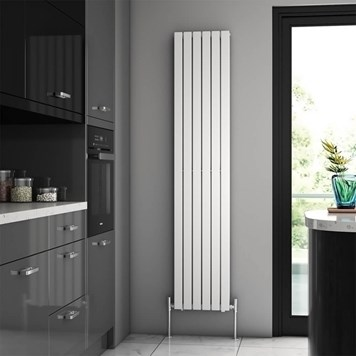 Brenton Flat Double Panel Vertical Radiator - 1800mm x 360mm - White