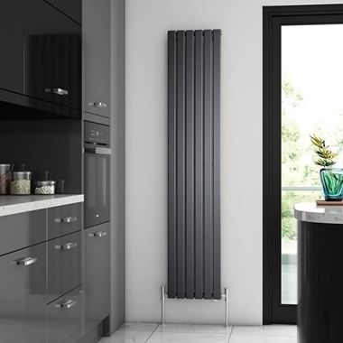Brenton Flat Single Panel Vertical Radiator - 1800mm x 360mm - Anthracite
