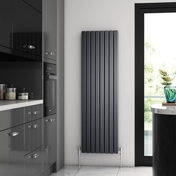 Brenton Flat Double Panel Vertical Radiator - 1600mm x 480mm - Anthracite