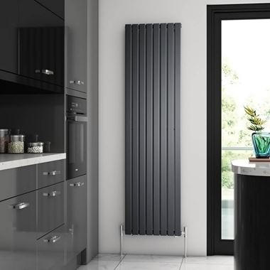 Brenton Flat Single Panel Vertical Radiator - 1800mm x 480mm - Anthracite