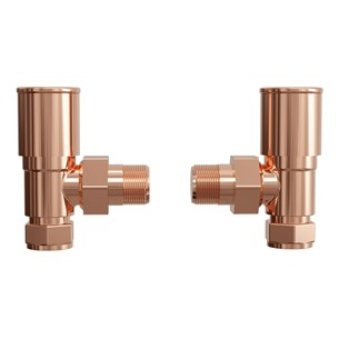 Brenton Angled Round Head Radiator Valves - Rose Gold