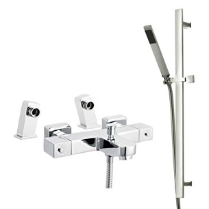 Arkoi Square Deck Mounted Thermostatic Bath Shower Mixer & Slide Rail Kit