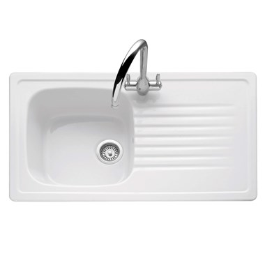 Caple Ashford 1 Bowl White Ceramic Kitchen Sink with Reversible Drainer - 920 x 510mm