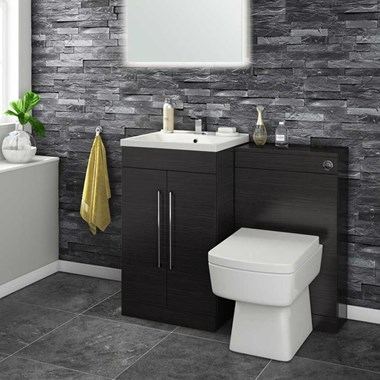 Aspire 500mm 2 Door Vanity Unit & Basin and Toilet Pack - Black Ash