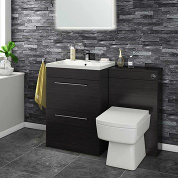 Aspire 600mm 2 Drawer Vanity Unit & Basin and Toilet Pack - Black Ash