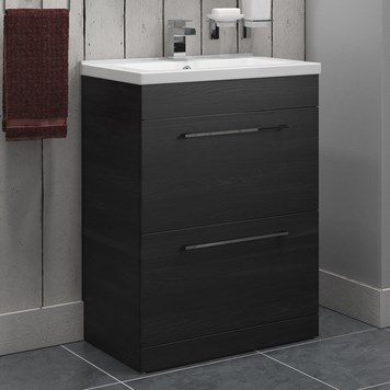 Vellamo Aspire 600mm Floorstanding 2 Drawer Vanity Unit & Basin - Black Ash