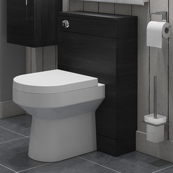 Vellamo Aspire Back to Wall WC Toilet Unit - Black Ash