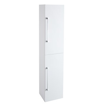 Aspire Tall 2 Door Bathroom Wall Mounted Storage Unit - Gloss White