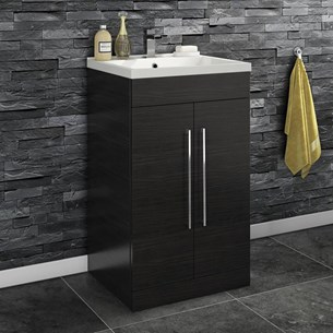 Aspire 500mm Floorstanding 2 Door Vanity Unit & Basin - Black Ash