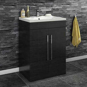 Aspire 600mm Floorstanding 2 Door Vanity Unit & Basin - Black Ash